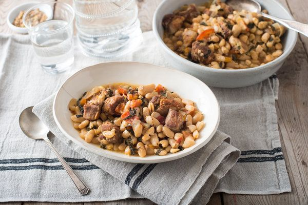 Pork and Beans with Garlic and Greens Recipe - NYT Cooking