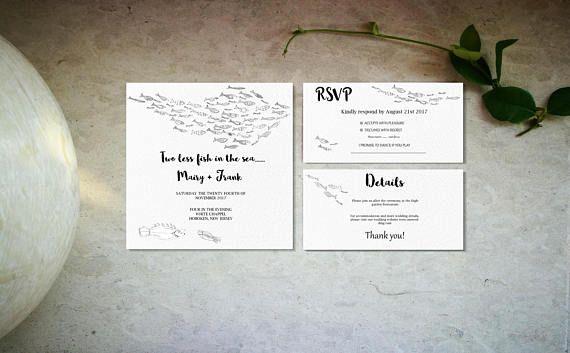Minimal fish wedding invitation template Digital wedding
