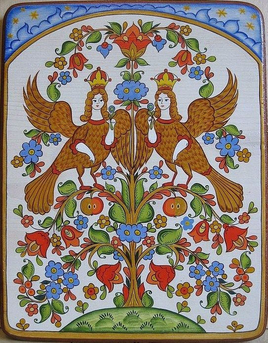 Folk painting from Northern Russia. Floral pattern with two Phoenixes.