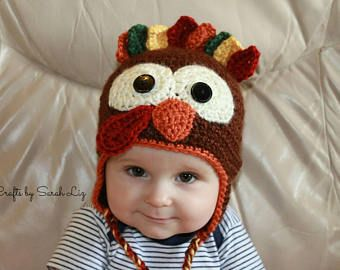 Infant Turkey Hat, Crocheted Turkey Hat, Thanksgiving Turkey Hat, Kid's Turkey Hat, Holiday Turkey Hat, Baby Turkey Hat, First Thanksgiving