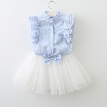 2-piece Stripes Ruffled Sleeveless Tee and Bowknot Tutu Skirt for Baby Girl/Girl