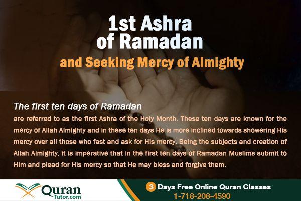 First Ten Days (First Ashra) of Ramadan and Seeking Mercy of Allah
