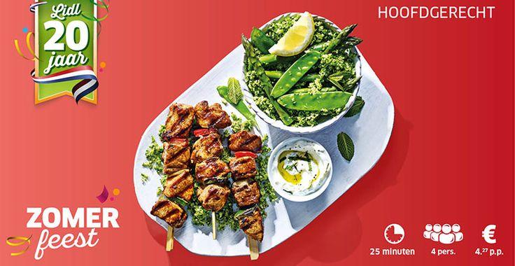 Shaslick met groene brocolli-rijstsalade en yoghurt-muntsaus