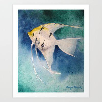 Koi Angelfish Swims In Blue Waters Art Print by Tanya Petruk - $18.72
