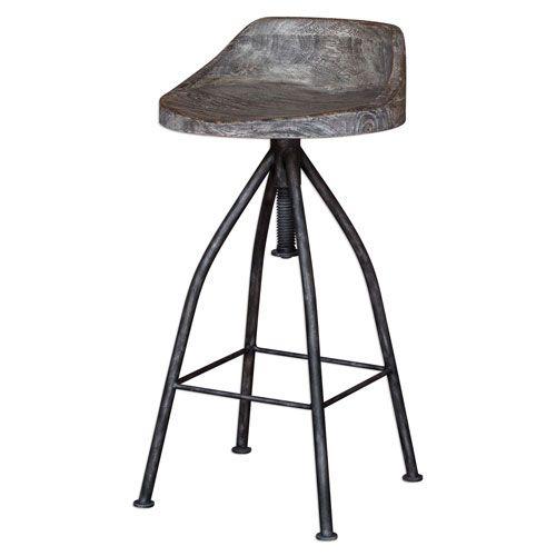 Kairu Gray Glazed Driftwood Bar Stool Uttermost Bar Height To Inch Bar
