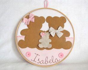 Quadro Maternidade Bastidor Família Urso
