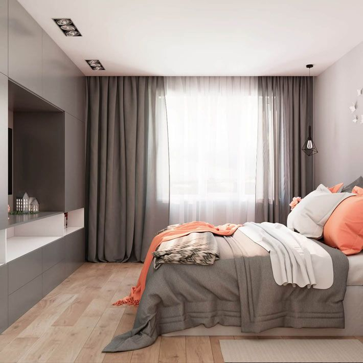 Коралловые акценты на сером фоне в дизайне спальни от Марии Глаголевой