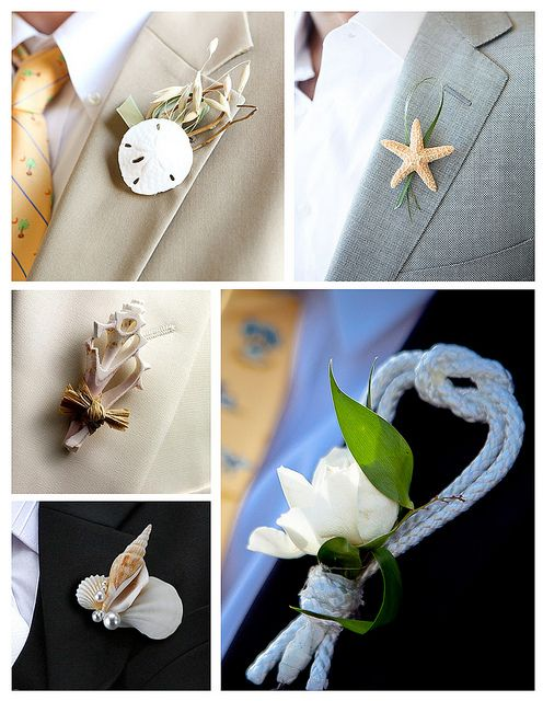 Beach Boutonnieres...love these!
