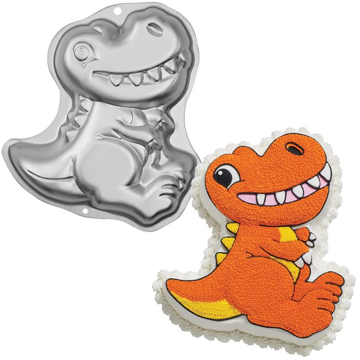 "Dinosaur Cake Pan Made of aluminum. Measures 12.75"" wide x 11"" high x 2"" deep. Uses one cake mix. Weight (lbs) 0.42 Length (inches) 12.5 Width (inches) 11 Height(inches) 2.25"