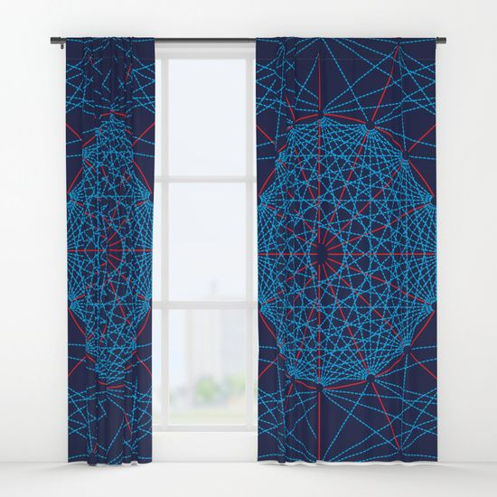 "Geometric Circle Blue/Red Curtains by Fimbis   ________________________ Your drapes don't have to be so drab. Our awesome Window Curtains transform a neglected essential into an awesome statement piece. They're crafted with 100% lightweight polyester, and thick enough to block out some light. Position the curtain rod into the 4"" pocket and you're good to go. All curtains are a single-sided print and measure 50"" x 84"". Available in single or double panel options. Machine wash cold (no…"