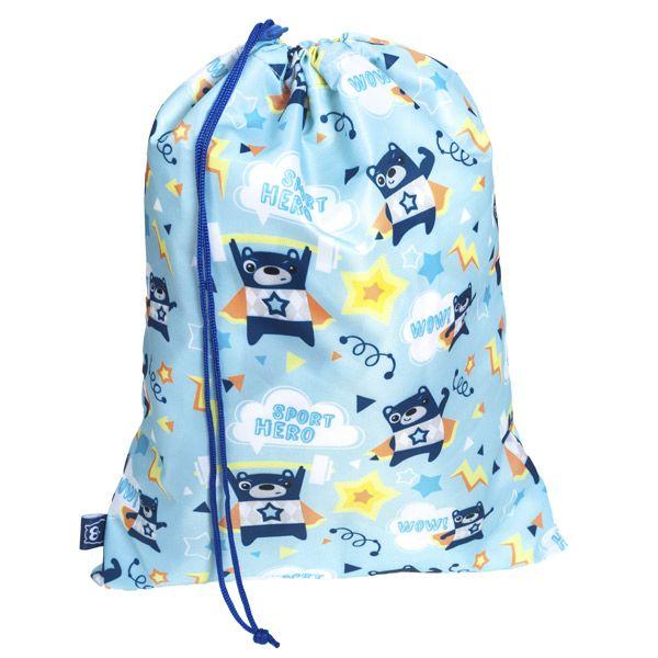 Una bolsa con bonitas ilustraciones para llevar las zapatillas de deporte al cole, para ir al gimnasio... Sport hero!