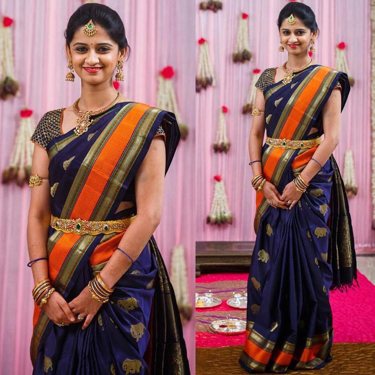 South Indian bride. Gold Indian bridal jewelry.Temple jewelry. Jhumkis. Navy blue and orange silk kanchipuram sari.Braid with fresh jasmine flowers. Tamil bride. Telugu bride. Kannada bride. Hindu bride. Malayalee bride.Kerala bride.South Indian wedding.