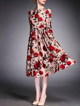 Multicolor 3/4 Sleeve Swing Polyester Midi Dress