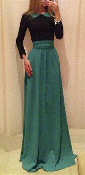 Peter Pan Collar High Waist Bow Maxi Dress