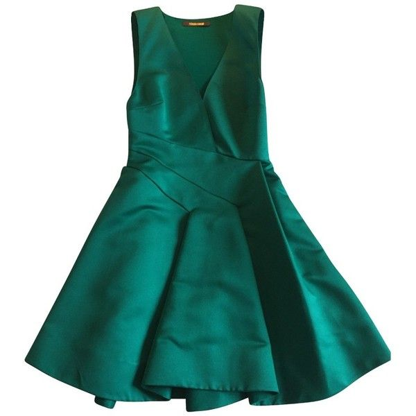 Pre-owned Emerald green gown 40 IT ($475) ❤ liked on Polyvore featuring dresses, gowns, turquoise, draped dress, emerald green ball gown, blue evening dresses, emerald green evening dress and pre owned evening gowns