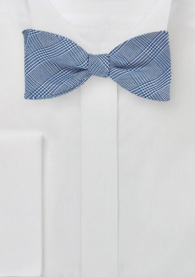 Blue Silk Bow Tie with Glen Checks, $29.90 | Cheap-Neckties.com