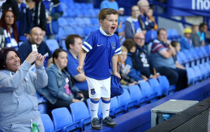 A young Everton fan shouts his encouragement during the Capital One Cup second-round match against Stevenage Simon Stacpoole/Offside