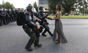 Ieshia Evans facing down police in Baton Rouge, Louisiana.