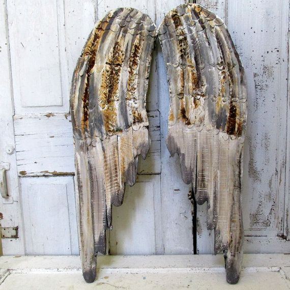 Rustic farmhouse angel wings wall hanging hand painted wood and metal wing set rusty gray and brown home decor anita spero design