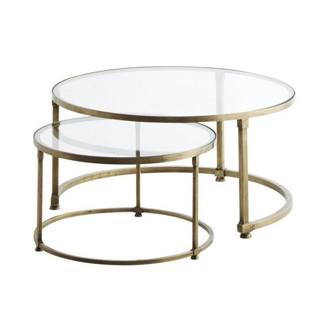Set De 2 Tables Basses Rondes Gigognes Verre En 2019 Table