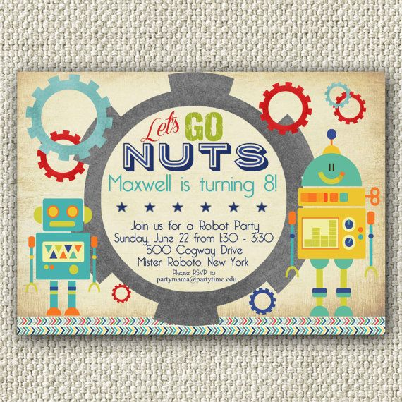 Boy Robot Birthday Party, Let's Go Nuts, INSTANT DOWNLOAD, Robot Invitation, Personalized Invitation
