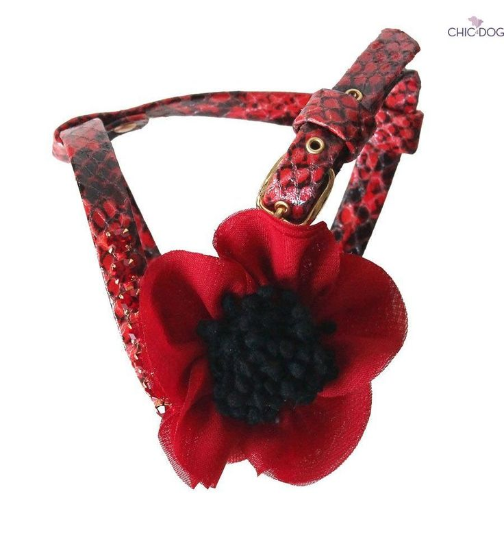 Merry Christmas #dog #harness red eco fur, embellished with a red flower, symbol of good luck   Pettorina per cani in eco pelle rossa, con fiore rosso, simbolo di buona fortuna #Chic4Dog