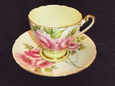 Shelley Rambler Rose Ripon Shape Cup and Saucer #13747