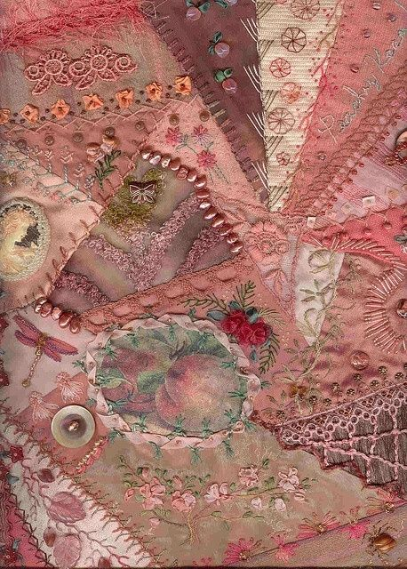 Victorian crazy quilt embellishments and embroidery stitches.  Nice piecing, too.[crazy quilt by autumn]