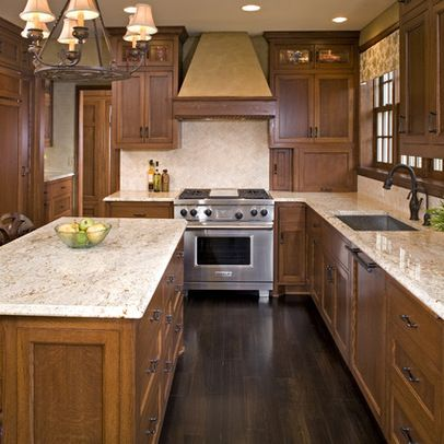 Oak cabinets dark floor design ideas pictures remodel for Dark oak kitchen cabinets