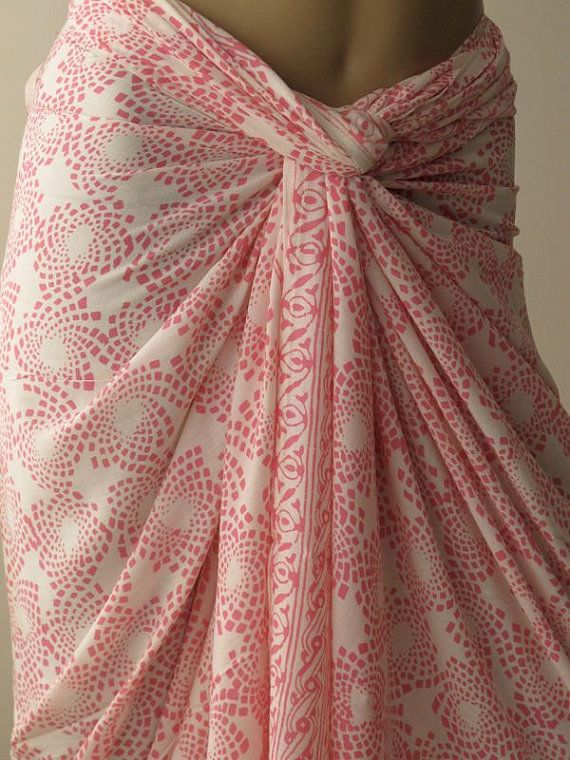 Pink Summer Pareo Hand Dyed Batik Sarong by silkzdesign on Etsy, $35.00