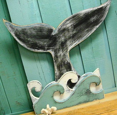 Whale Tail in Waves Sign Wall Art Beach House Decor.