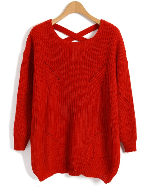Red Chunky Knit Jumpers with Cut Out and Cross Straps Design (chicnova - 42$)