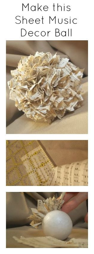 """I just loved the ball that I saw onOrganize and Decorate Everything. So I decided to try one with sheet music. Yep I am """"balling"""" in love! So here is what ya need to make one of your very own. Some sheet music and styrofoam ball. Break out that trusty glue gun and get to …"""