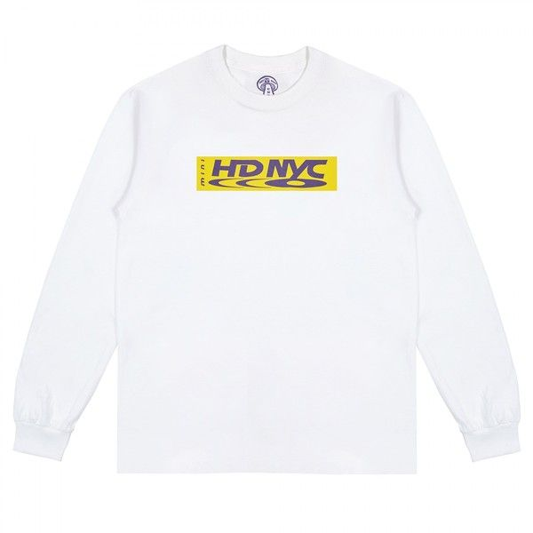 C-N-Y Mini HDNYC Purp N Yellow Long Sleeve T-Shirt (White) ($65) ❤ liked on Polyvore featuring tops, t-shirts, yellow long sleeve t shirt, long sleeve tops, longsleeve tee, yellow long sleeve top and mini top