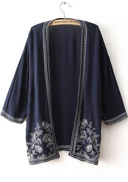 Kimono décontracté orné de broderie mi-manche  10.42  Sheinside