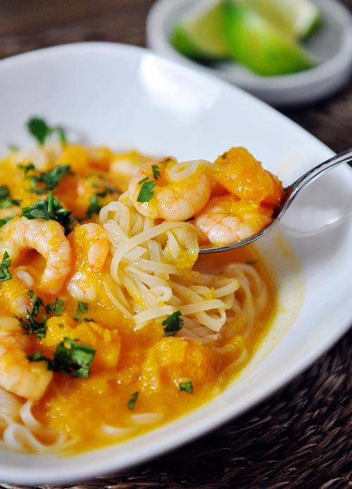 Butternut Squash and Coconut Curry Soup with Shrimp and Rice Noodles by Katering Passion .
