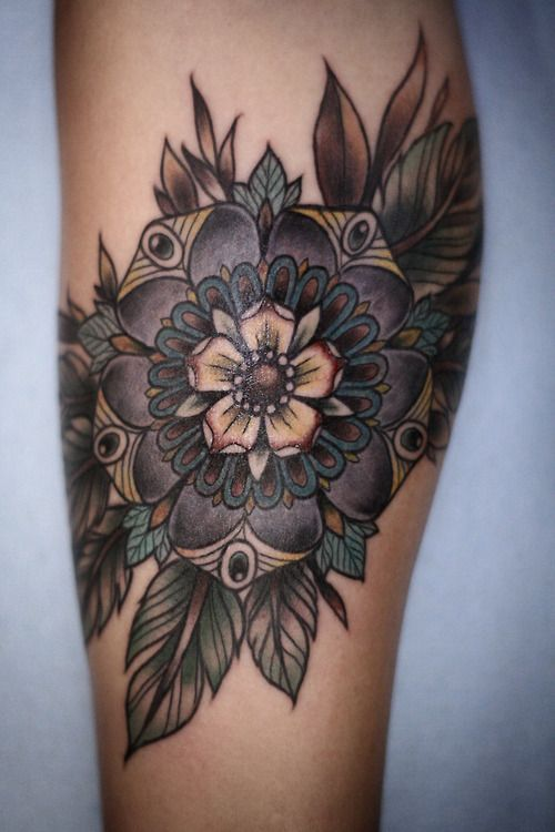 purple flower/mandala tattoo -  Alice Carrier