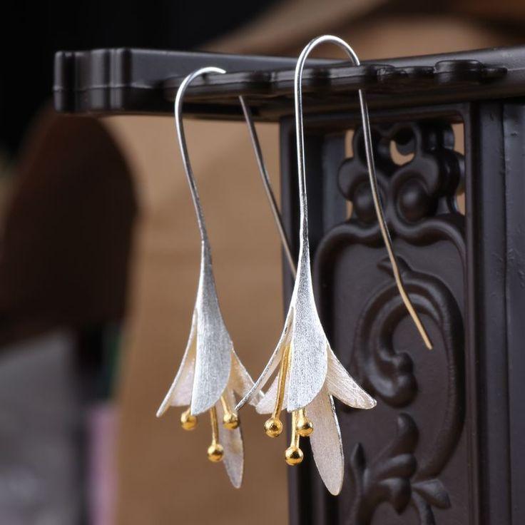925-sterling-silver Flowers Long Earrings For Women Elegant Lady Prevent Allergy Silver 925 Earings Fashion Jewelry-M6-25