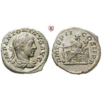 Römische Kaiserzeit, Elagabal, Denar 219, vz-st: Elagabal 218-222. Denar 18 mm 219 Rom. Drapierte und gepanzerte Büste r. mit… #coins