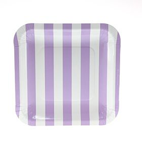 Striped purple paperplate