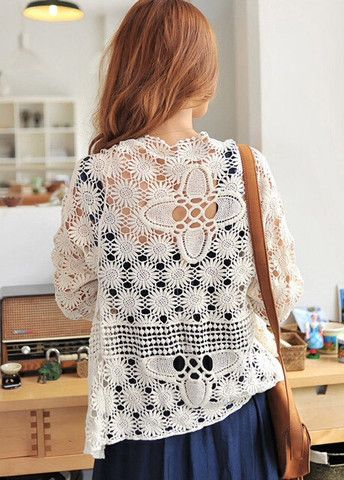 Vogue Long Sleeve Hollow Cochet White Cotton Cardigans – teeteecee - fashion in style