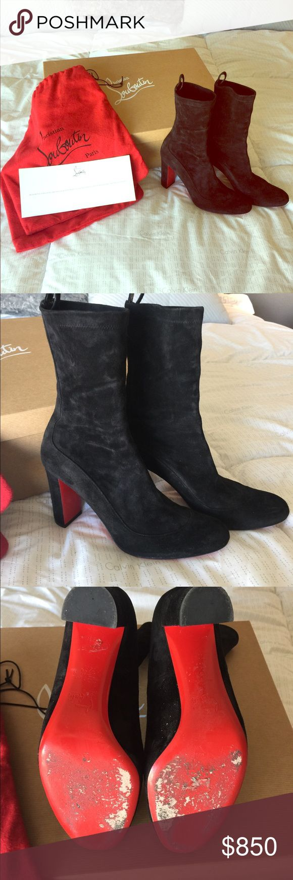 Gena Booties by Christian Loubiton Black suede Booties worn only  once excellent condition love the way the ankle fits nice and form fitting like a sock very classic, chic and classy ! Christian Louboutin Shoes Ankle Boots & Booties