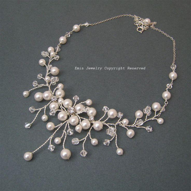 Silver Swarovski Pearls Rhinestone Crystals Bridal Chocker Necklace - Bride Special Occasion Wedding Jewelry Gift. $69.50, via Etsy.