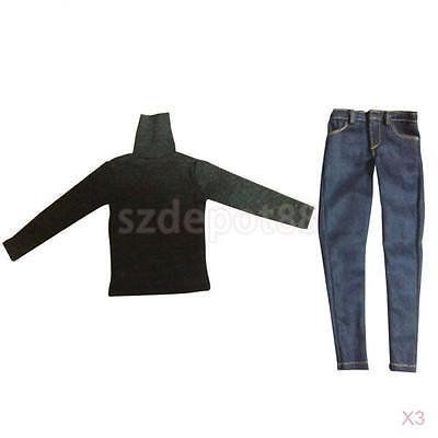 3X 1/6th Scale Turtleneck T Shirt Jeans Pants for 12inch Hot Toys Dragon Figure. #Scale #Turtleneck #Shirt #Jeans #Pants #inch #Toys #Dragon #Figure