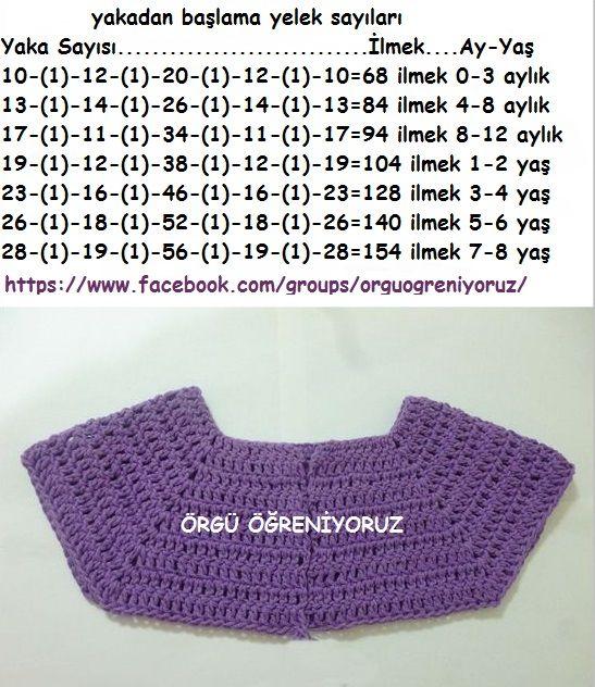 yakadan başlama yelek ölçüleri baby vest crochet diagram