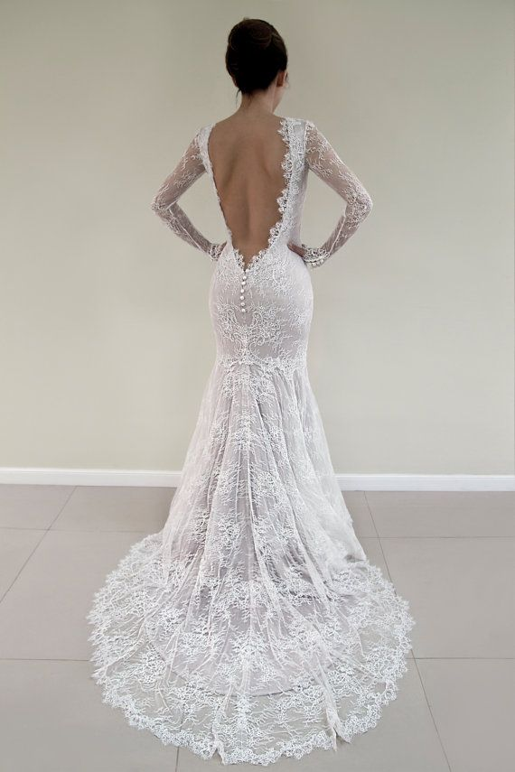 Open Back Lace Wedding Dress, Long Sleeved Bridal Gown, Wedding Dress with Lace Sleeves, Champagne Wedding Dress, Sexy Wedding Dress – Hope Poirier