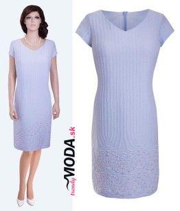 Krásne elegantné dámske modré letné šaty vhodné na svadbu či inú spoločenskú udalosť - trendymoda.sk