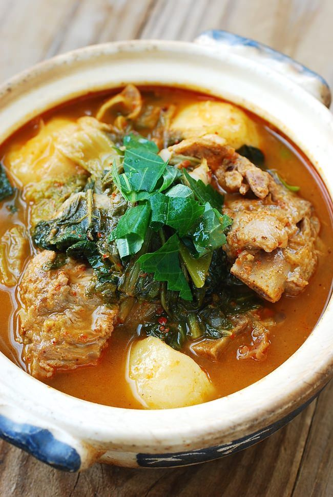 Gamjatang: Korean Spicy pork stew - - Spicy, hearty Korean stew made with pork bones, potatoes and other vegetables