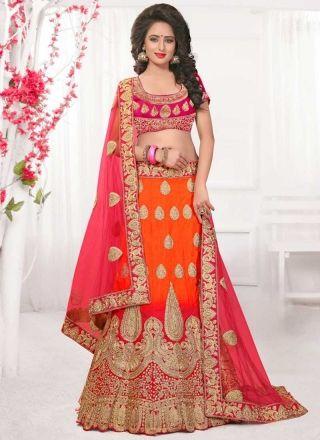 Orange Pink Embroidery Work Net Silk Fancy Designer Wedding Lehenga Choli http://www.angelnx.com/Lehenga-Choli/Designer-Lehenga-Choli
