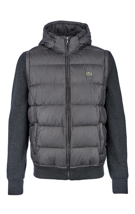 01b433b7bb Серый пуховик с вязаными съемными рукавами BH190909GT   Pop Up  4_Lacoste_26.09.18   Winter jackets, Lacoste, Jackets